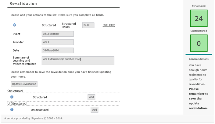 Example of Revalidation page